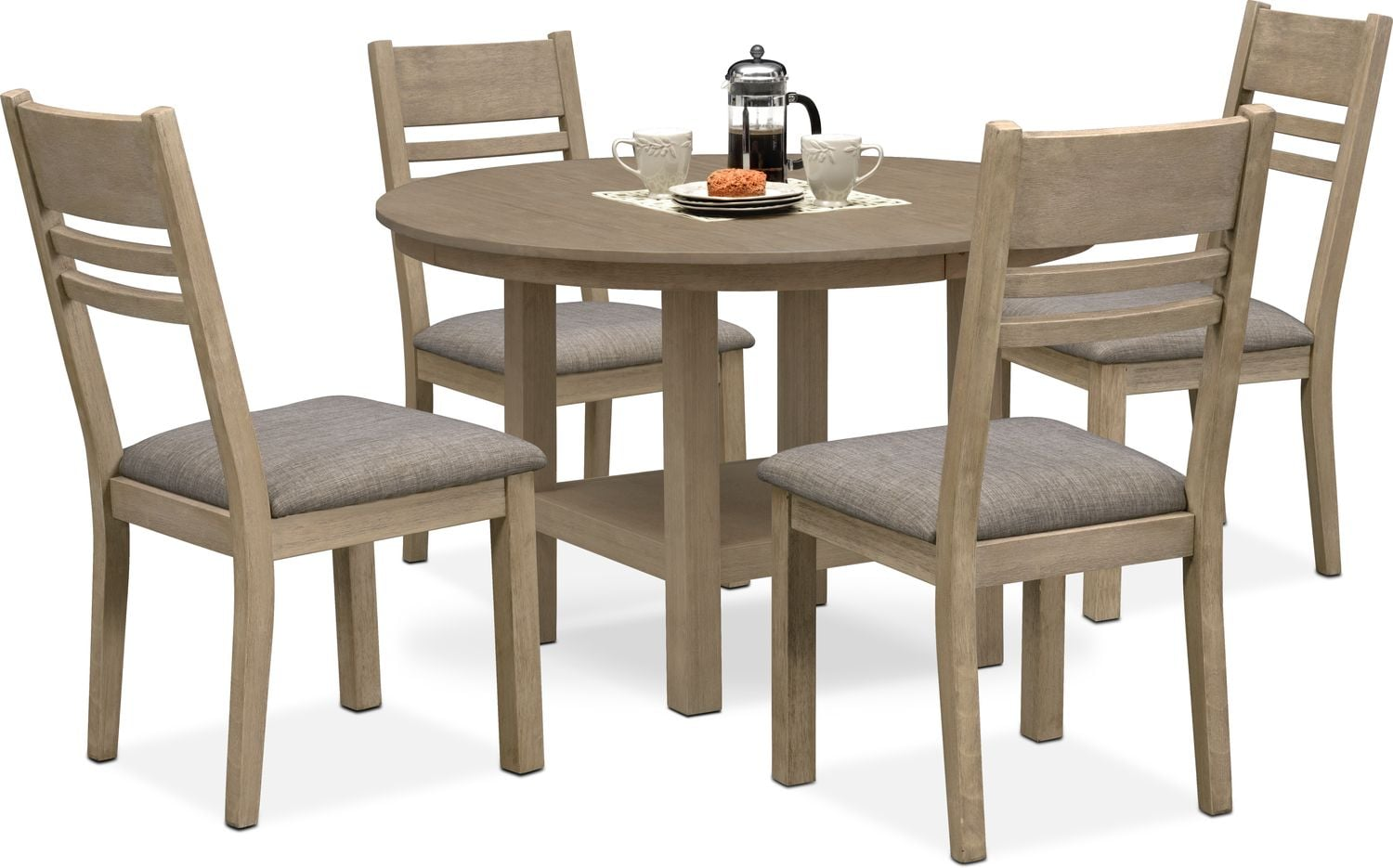Tribeca Round Dining Table And 4 Side Chairs   Gray