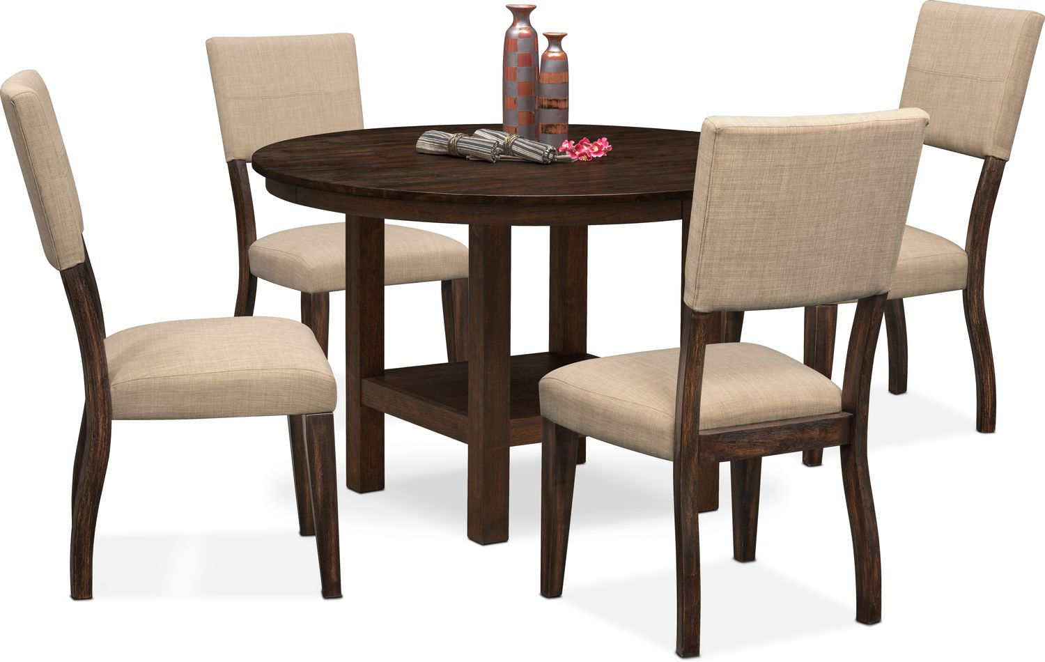 Dining Room Furniture - Tribeca Round Dining Table and 4 Upholstered Side Chairs