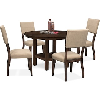 Tribeca Round Dining Table and 4 Upholstered Side Chairs - Tobacco