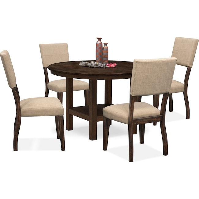 Dining Room Furniture - Tribeca Round Dining Table and 4 Upholstered Side Chairs - Tobacco