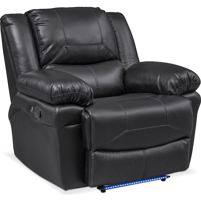 Living Room Furniture - Monza Manual Recliner - Black