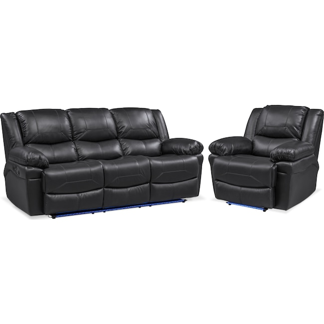 Living Room Furniture - Monza Manual Reclining Sofa and Recliner Set