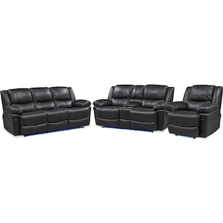Monza Manual Reclining Sofa, Reclining Loveseat and Recliner Set - Black