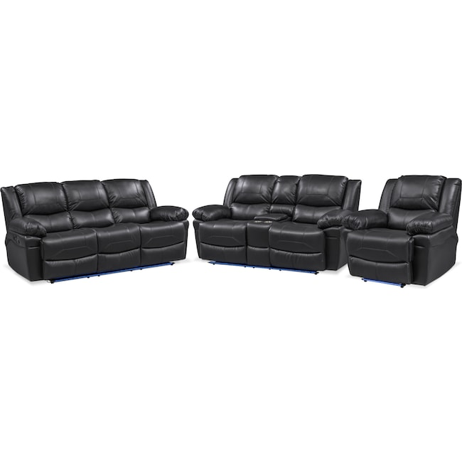 Living Room Furniture - Monza Manual Reclining Sofa, Reclining Loveseat and Recliner Set - Black