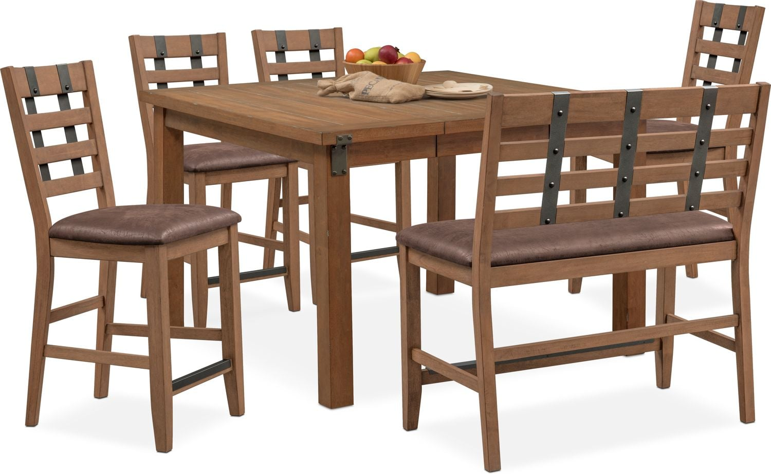 Hampton Counter-Height Dining Table, 4 Stools and Bench - Sandstone ...