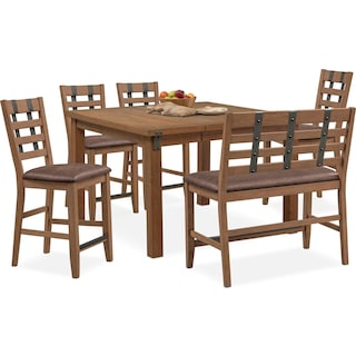Hampton Counter-Height Dining Table, 4 Stools and Bench