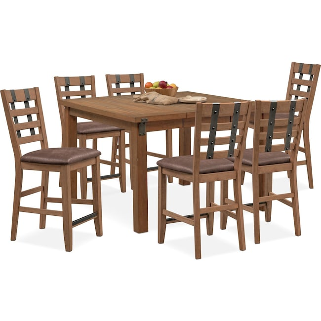 Dining Room Furniture - Hampton Counter-Height Dining Table and 6 Stools - Sandstone