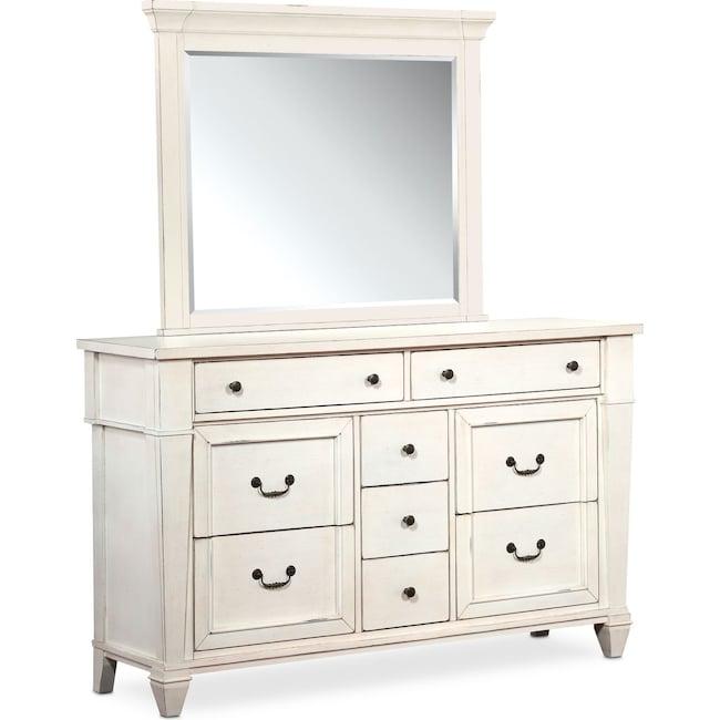 Bedroom Furniture - Waverly Dresser and Mirror - White