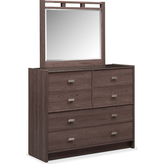 Bedroom Furniture - Britto Dresser and Mirror - Graystone