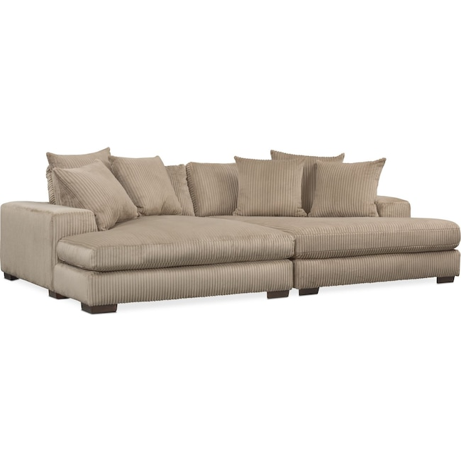 Living Room Furniture - Lounge 2-Piece Sectional with Double Chaise - Beige