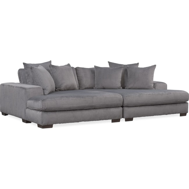 Living Room Furniture - Lounge 2-Piece Sectional with Double Chaise - Gray