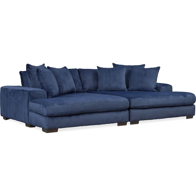 Living Room Furniture - Lounge 2-Piece Sectional with Double Chaise - Navy