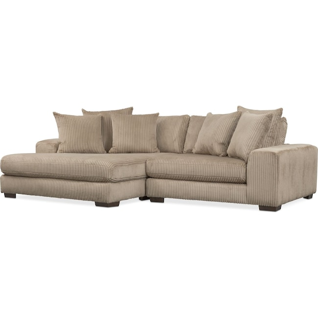 Living Room Furniture - Lounge 2-Piece Sectional with Left-Facing Chaise - Beige