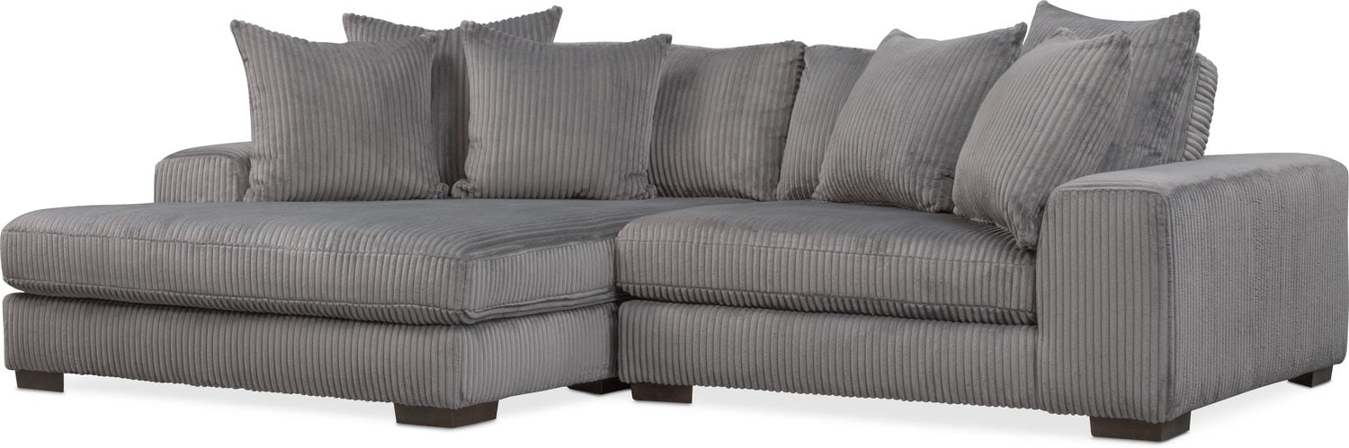 Lounge 2 Piece Sectional With Left Facing Chaise   Gray