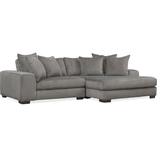 Lounge 2-Piece Sectional with Right-Facing Chaise - Gray