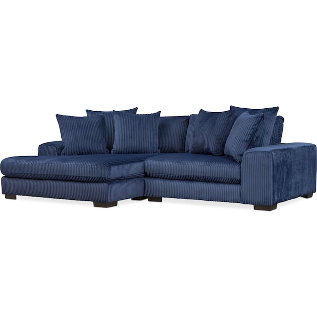 Living Room Furniture - Lounge 2-Piece Sectional with Left-Facing Chaise - Navy