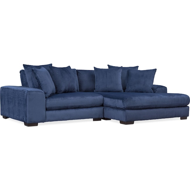 Living Room Furniture - Lounge 2-Piece Sectional with Right-Facing Chaise - Navy