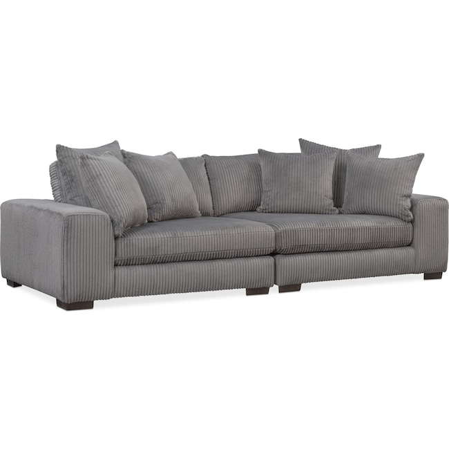 Living Room Furniture - Lounge 2-Piece Sofa - Gray