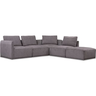 Rio 5-Piece Sectional with 2 Armless Chairs and Ottoman - Gray