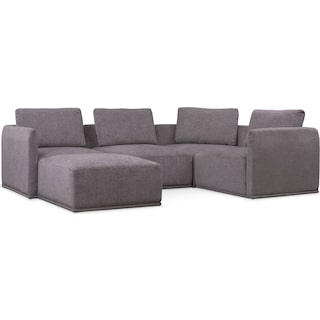 Rio 5-Piece Sectional with 1 Armless Chair and Ottoman - Gray