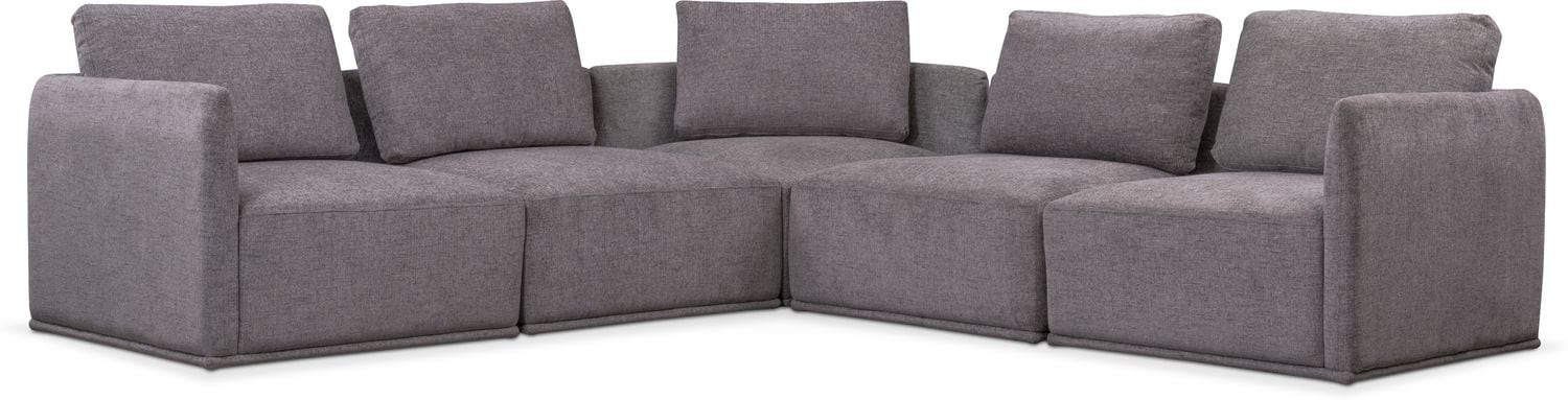 Rio 5-Piece Sectional with 3 Corner Chairs - Gray | American ...
