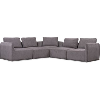 Rio 5-Piece Sectional with 3 Corner Chairs - Gray