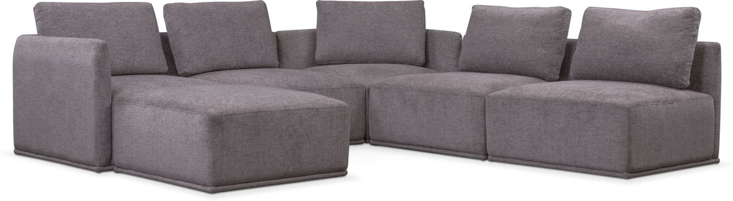 Living Room Furniture - Rio 6-Piece Sectional with 2 Corner Chairs - Gray