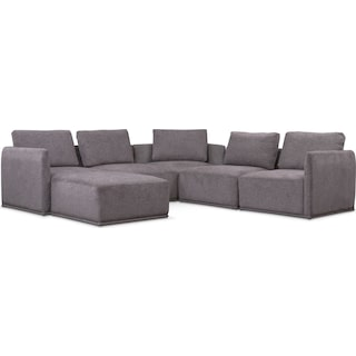 Rio 6-Piece Sectional with 3 Corner Chairs - Gray