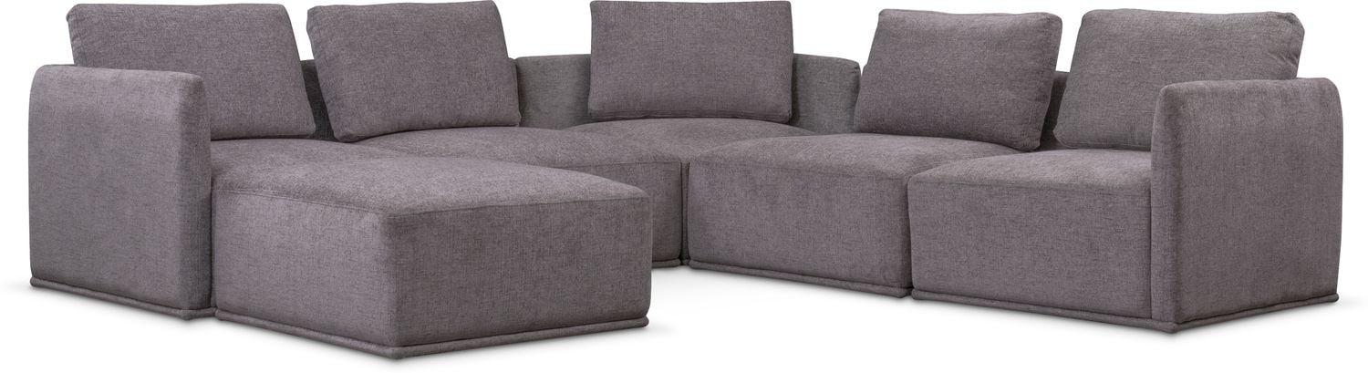 Living Room Furniture   Rio 6 Piece Sectional With 3 Corner Chairs   Gray
