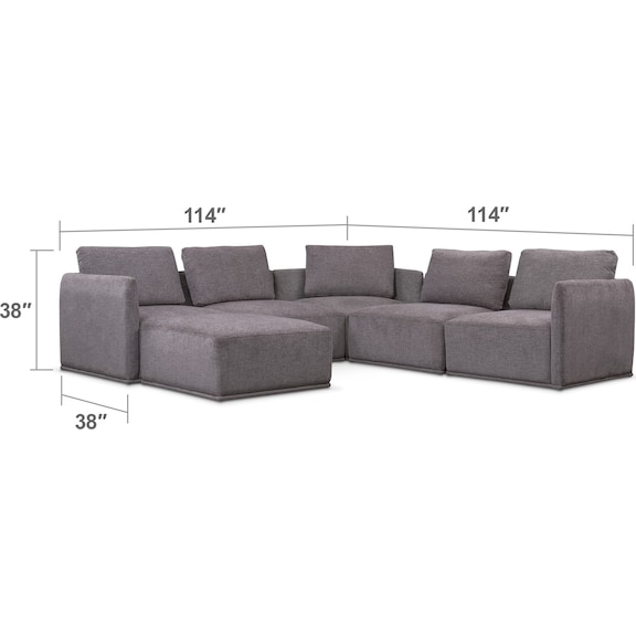 Living Room Furniture - Rio 6-Piece Sectional with 3 Corner Chairs - Gray