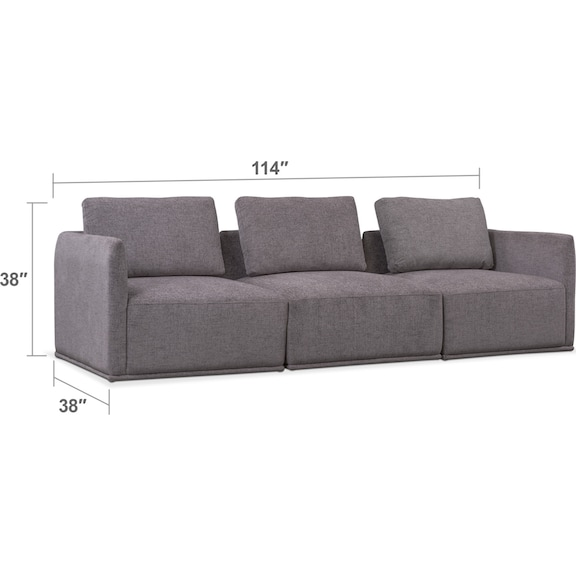Living Room Furniture - Rio 3-Piece Sectional - Gray
