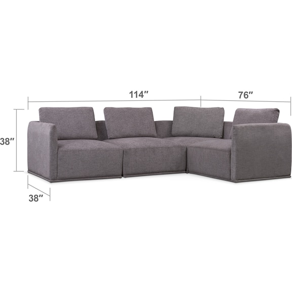 Living Room Furniture - Rio 4-Piece Sectional - Gray