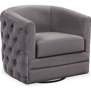 Chloe Swivel Chair - Gunmetal
