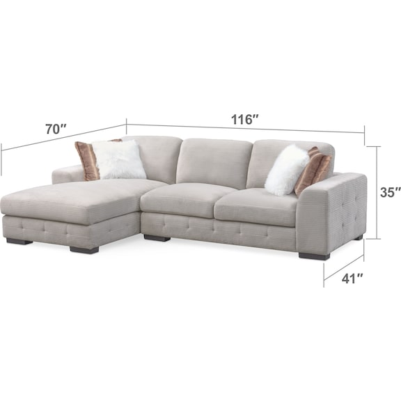 Living Room Furniture - Terry 2-Piece Sectional with Chaise and Ottoman