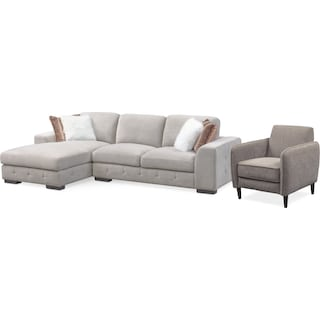 Terry 2-Piece Sectional with Left-Facing Chaise and Accent Chair Set - Cement