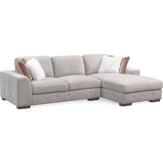 Terry 2-Piece Sectional with Right-Facing Chaise - Cement