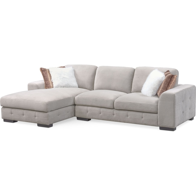 Living Room Furniture - Terry 2-Piece Sectional with Left-Facing Chaise - Cement