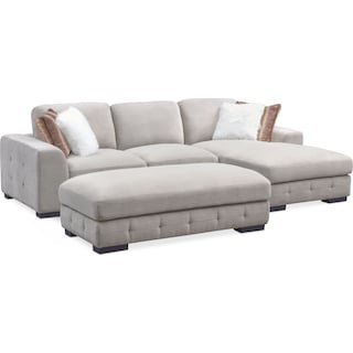 Terry 2-Piece Sectional with Right-Facing Chaise and Ottoman - Cement