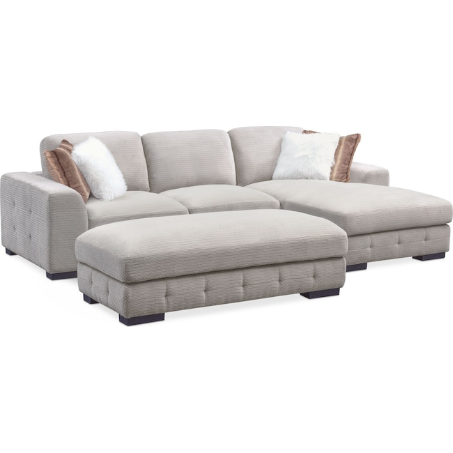 Living Room Furniture - Terry 2-Piece Sectional with Ottoman Package
