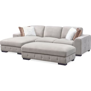 Terry 2-Piece Left-Facing Sectional with Ottoman Package - Cement