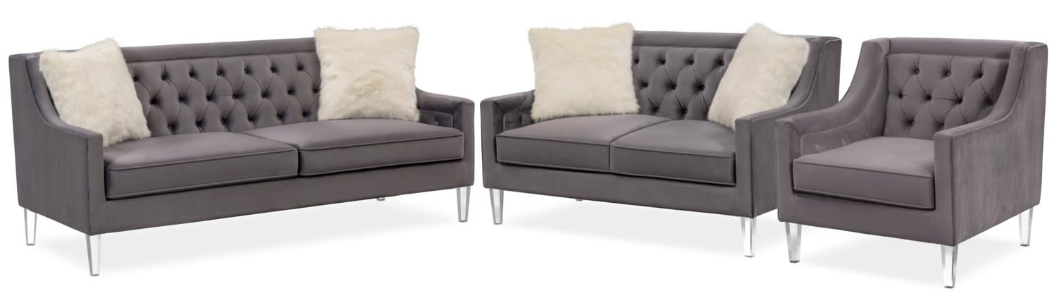 Chloe Sofa, Loveseat And Chair Set   Gunmetal