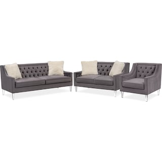 Chloe Sofa, Loveseat and Chair Set