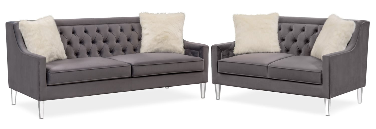 Chloe Sofa And Loveseat Set Gunmetal