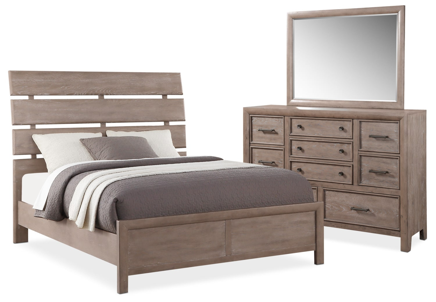 Bedroom Furniture   Hampton 5 Piece Queen Bedroom Set   Gray
