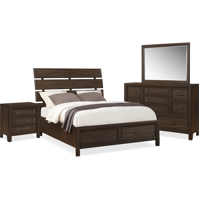 Bedroom Furniture - Hampton 6-Piece Queen Storage Bedroom Set - Cocoa