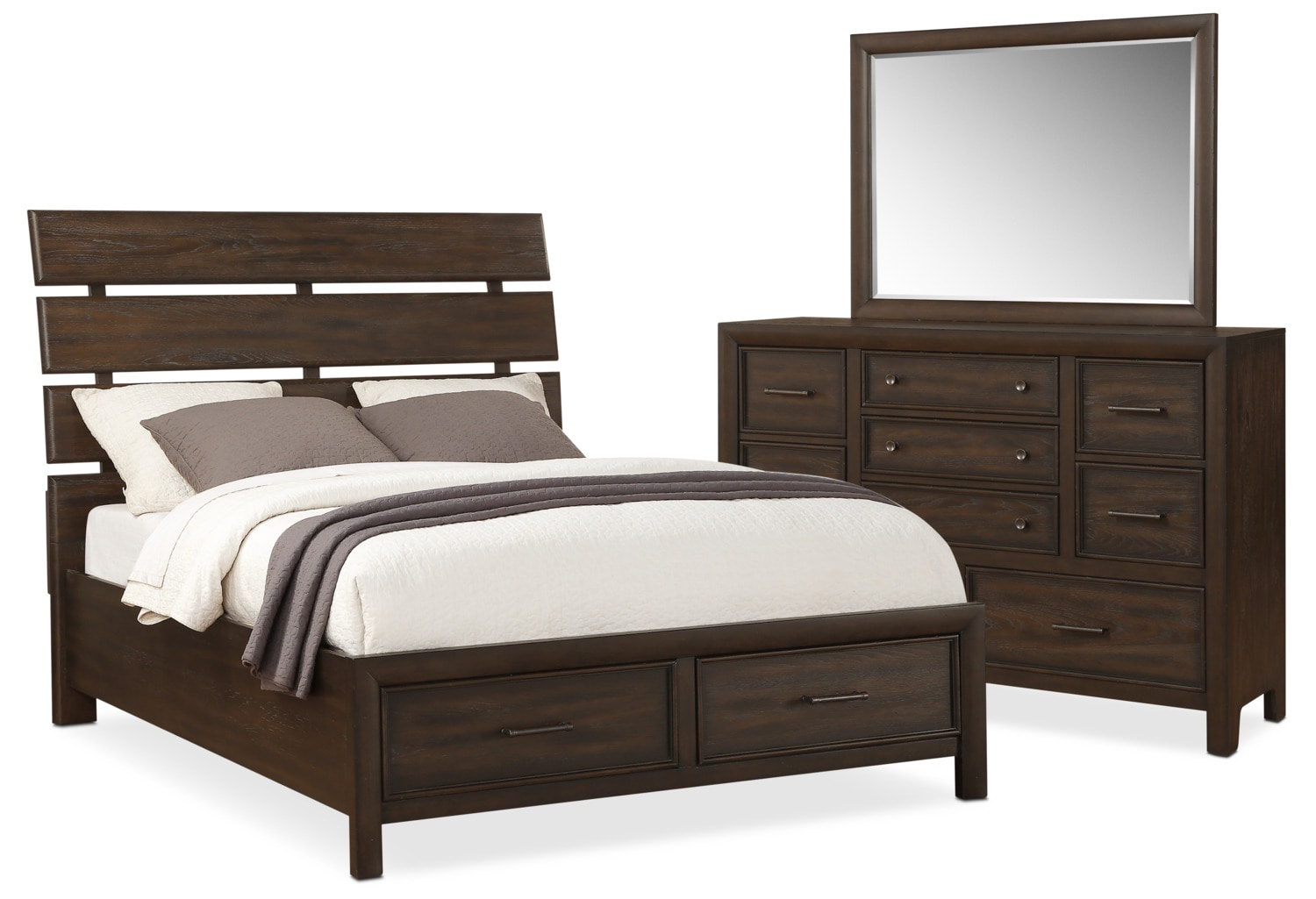 hampton 5 piece queen storage bedroom set cocoa american signature furniture. Black Bedroom Furniture Sets. Home Design Ideas
