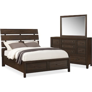 Hampton 5-Piece Queen Storage Bedroom Set - Cocoa