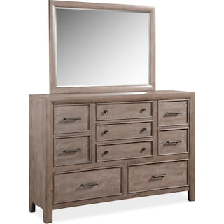 Hampton Dresser and Mirror - Gray