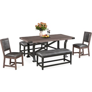 Newcastle Dining Table, 2 Side Chairs and 2 Benches - Gray