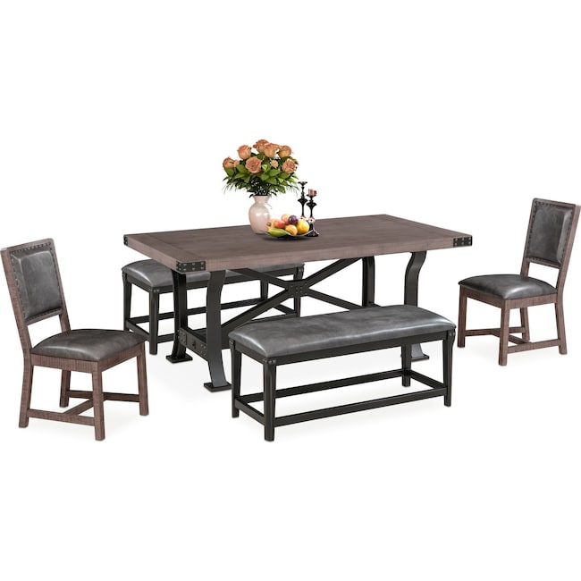 Dining Room Furniture - Newcastle Dining Table, 2 Side Chairs and 2 Benches - Gray
